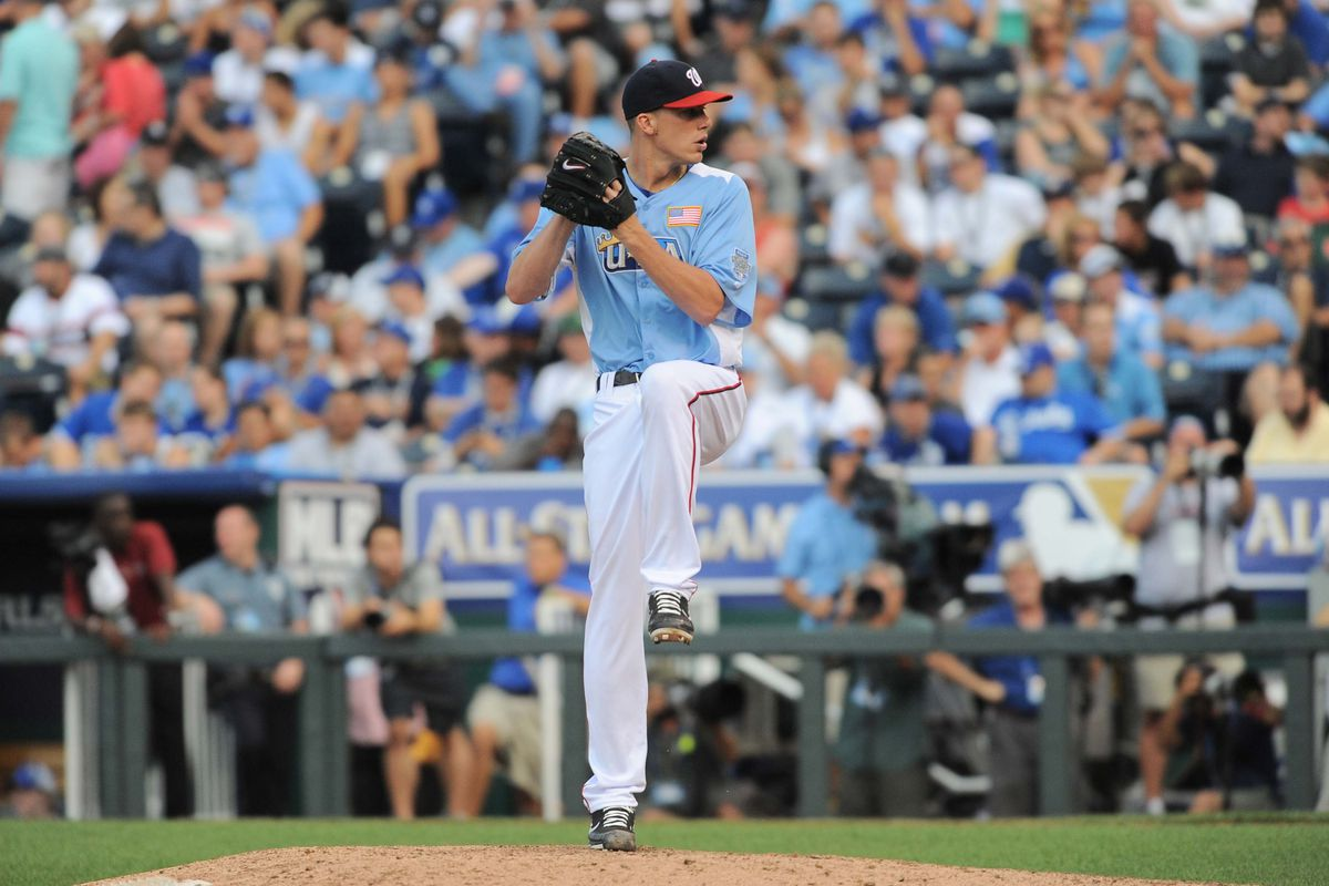 July 9, 2012; Kansas City, MO, USA; USA pitcher Alex Meyer (17) delivers a pitch in the seventh inning of the 2012 All Star Futures Game at Kauffman Stadium. Mandatory Credit: Denny Medley-US PRESSWIRE