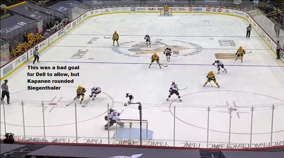 April 22: This shot should have been stopped by Dell.  Still, Kasperi Kapanen easily used his speed to get past Siegenthaler and force him to turn, which gave the forward plenty of time to fire a shot on net that became a goal.