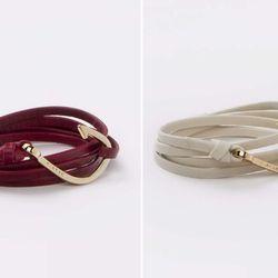 "Hook on leather bracelet, <a href=""http://www.miansai.com/shop/hooks/gold-hook-on-leather-bracelet"">Miansai</a>, $80."