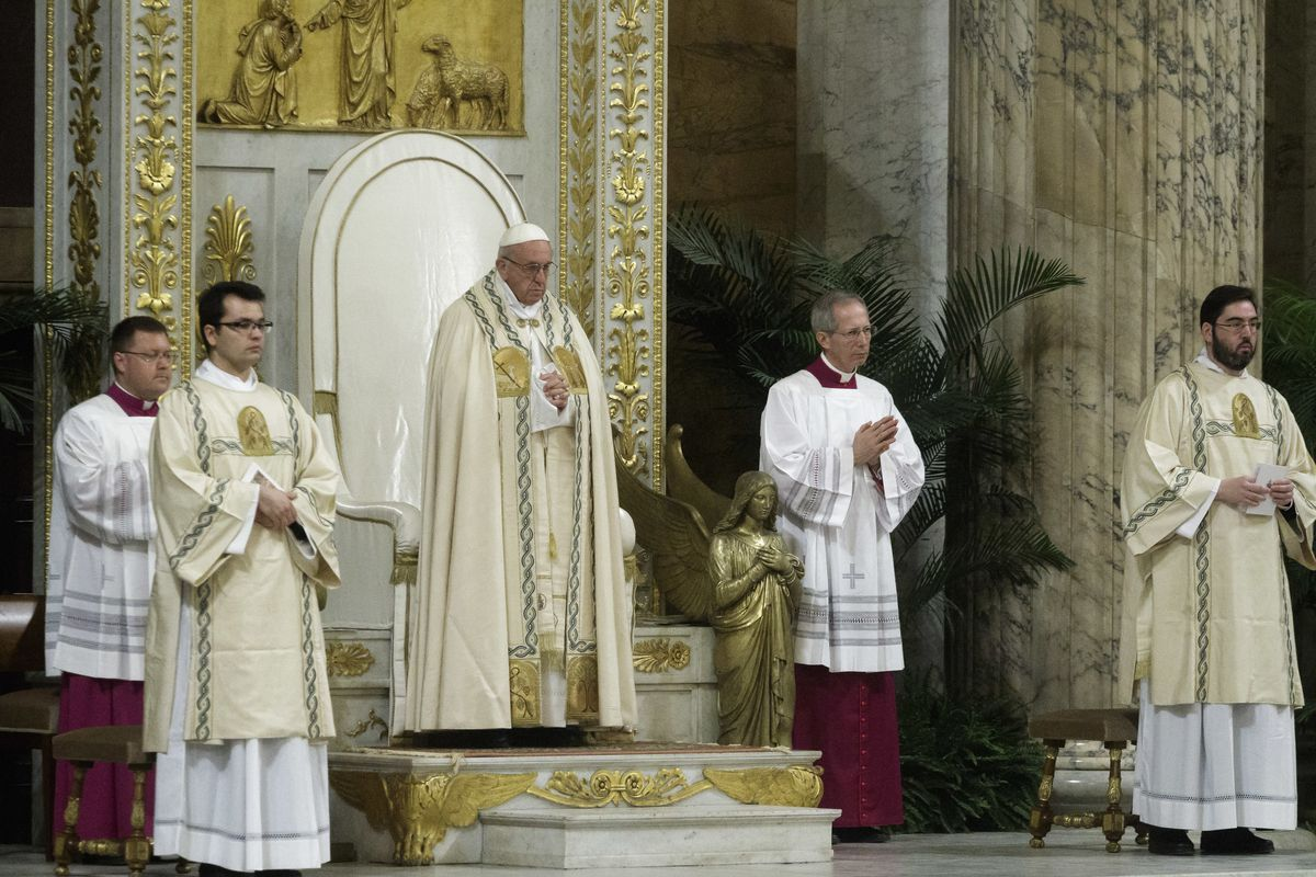Pope Francis leads the celebration of the Vespers, on the...