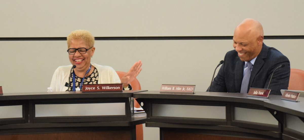 School Board President Joyce Wilkerson and Superintendent Hite joke during introductory remarks.