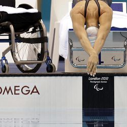 Malloy Weggemann of the United States swims in the women's 100-meter breastroke SB7 heats at the 2012 Paralympics games, Saturday, Sept. 1, 2012, in London.