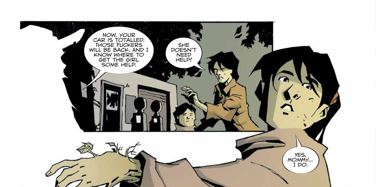 """""""She doesn't need help,"""" insists a mother. """"Yes, Mommy... I do."""" responds her daughter, showing her arm, which has branches and leaves growing from it, in Family Tree #2, Image Comics (2019)."""