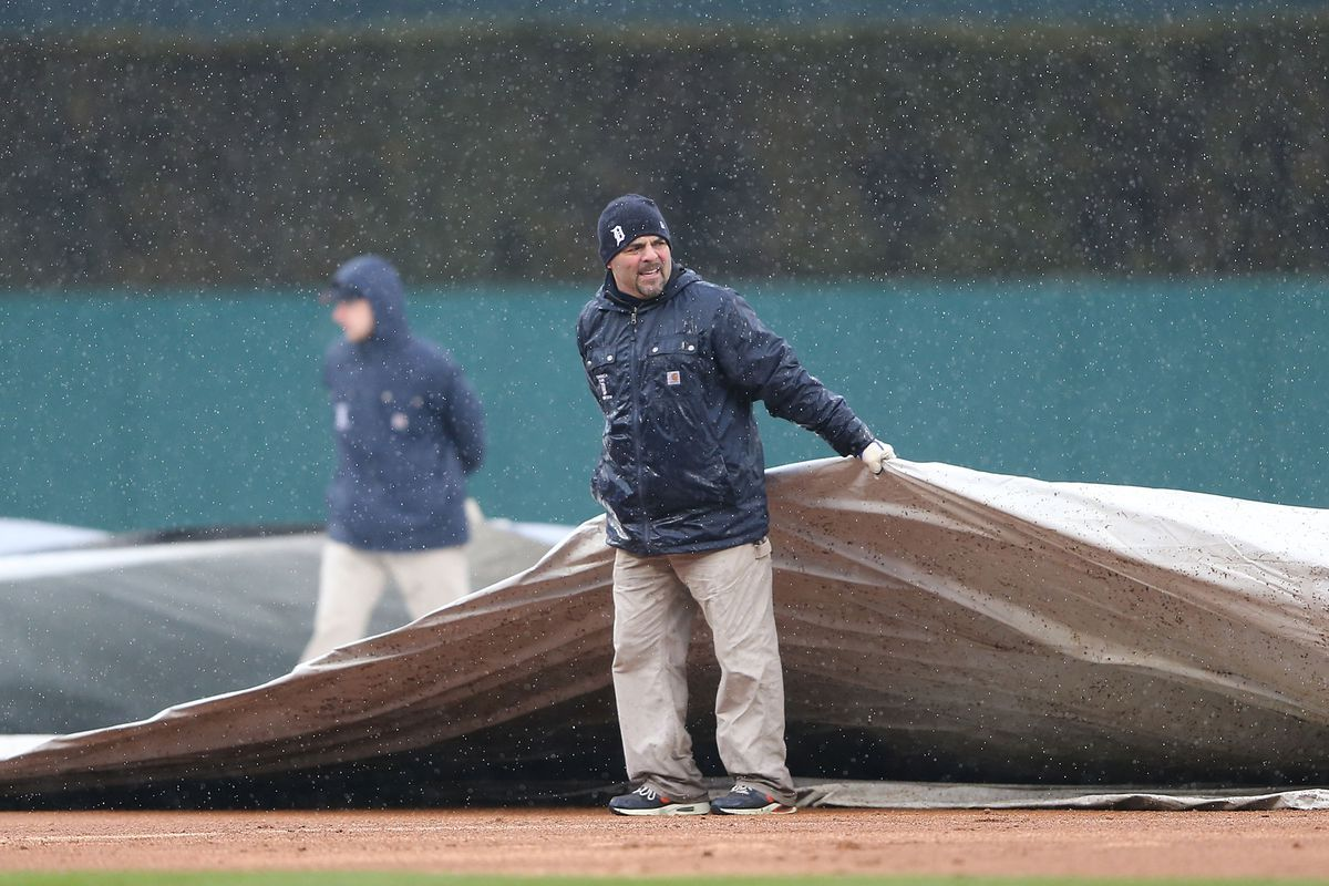 The tarp came out on April 4 as it has too many times this season