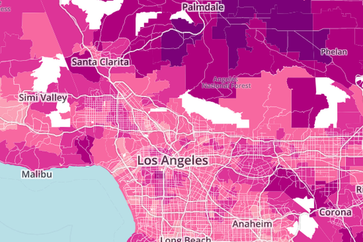mapping the average commute time from every part of la