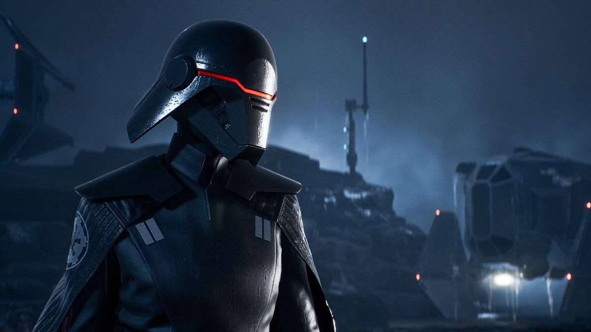 an ominous figure in a black mask and Imperial uniform looks to the left in Star Wars Jedi: Fallen Order