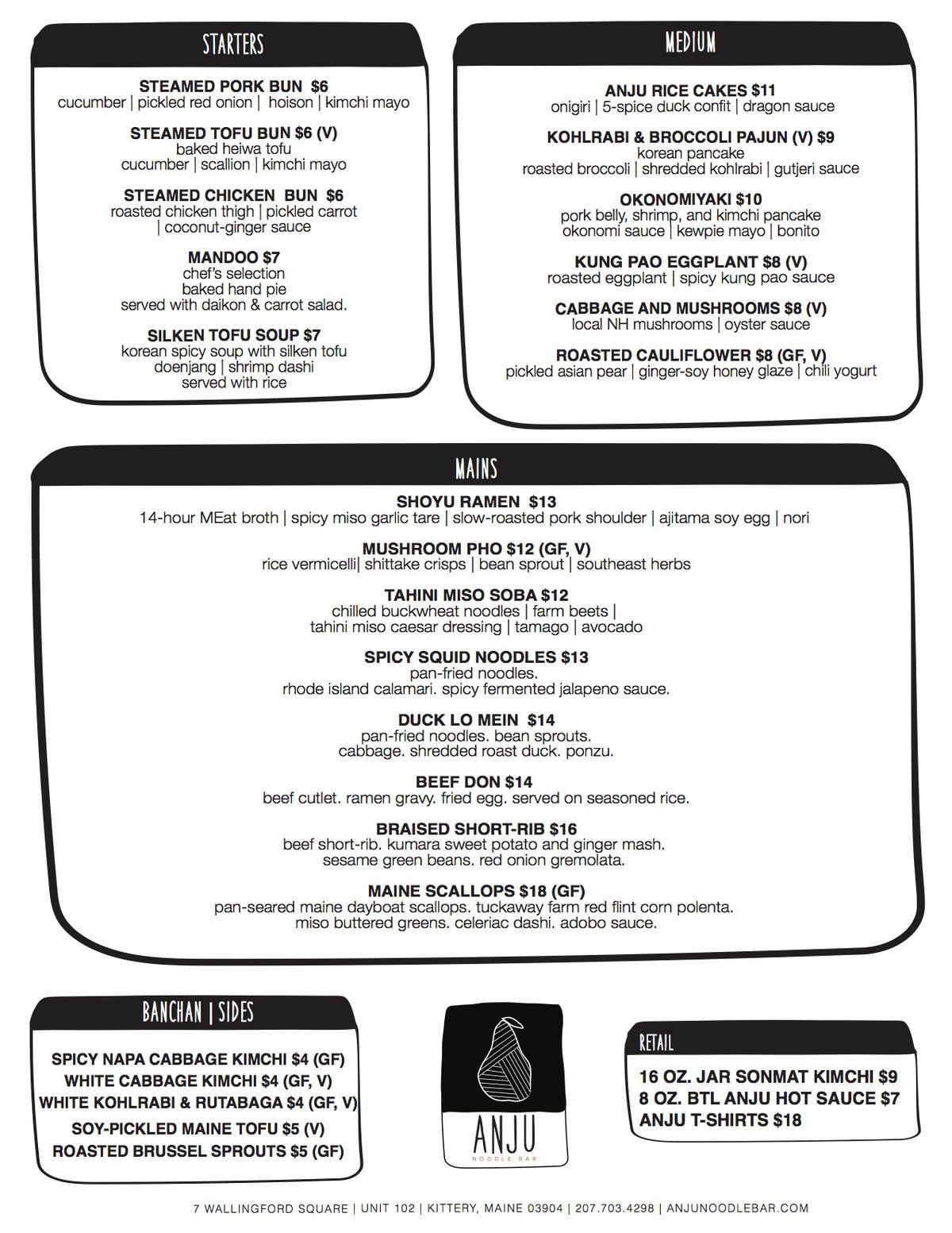 anju current food menu