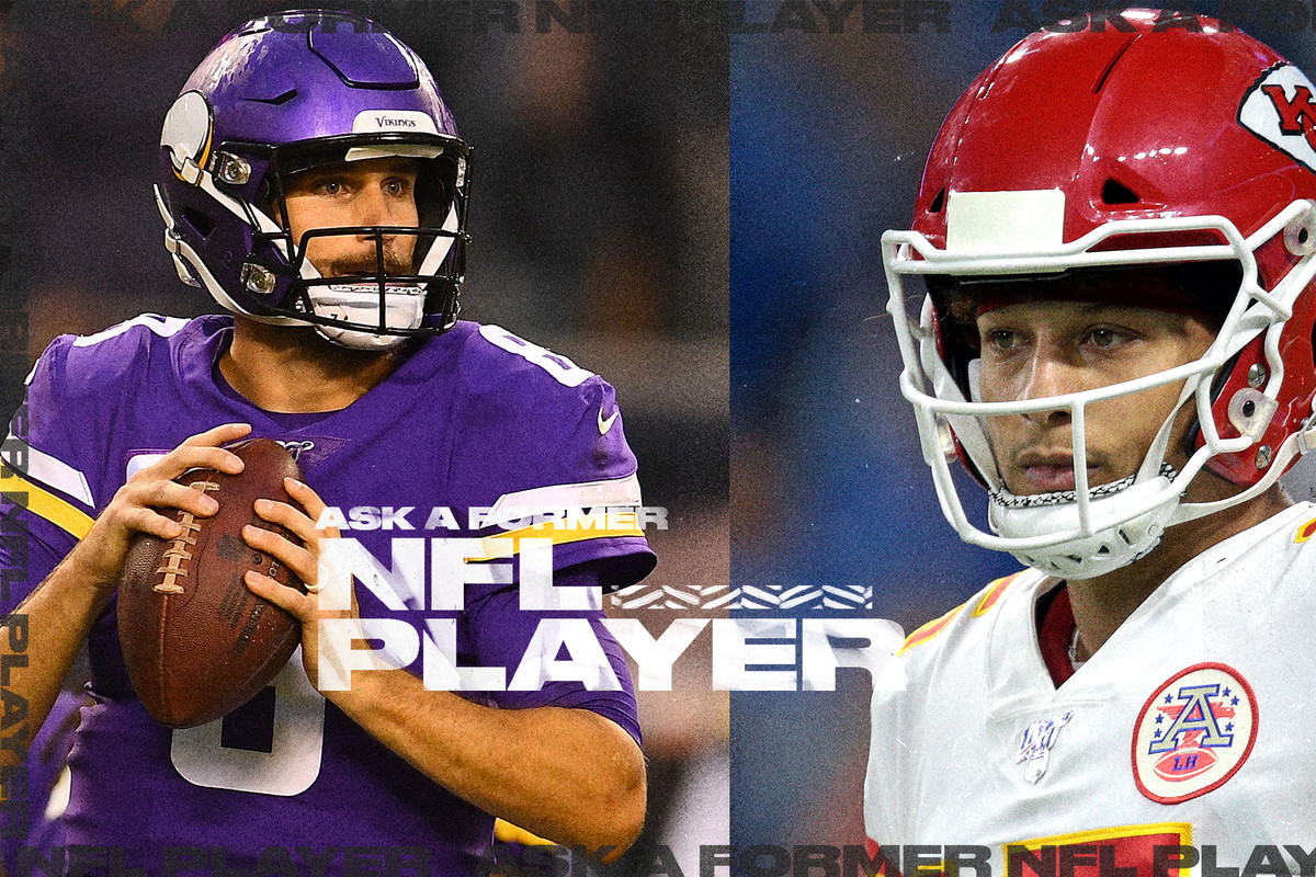 Vikings QB Kirk Cousins throwing a pass on one side; Chiefs QB Patrick Mahomes staring ahead on other