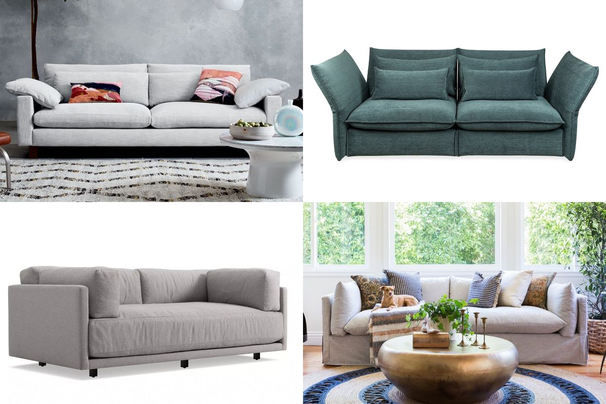 Four two-seater sofas, three in gray and one in green.