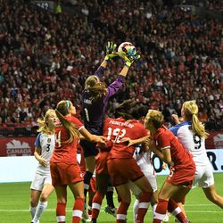 Canadian GK Stephanie Labbe safely recovers the ball.
