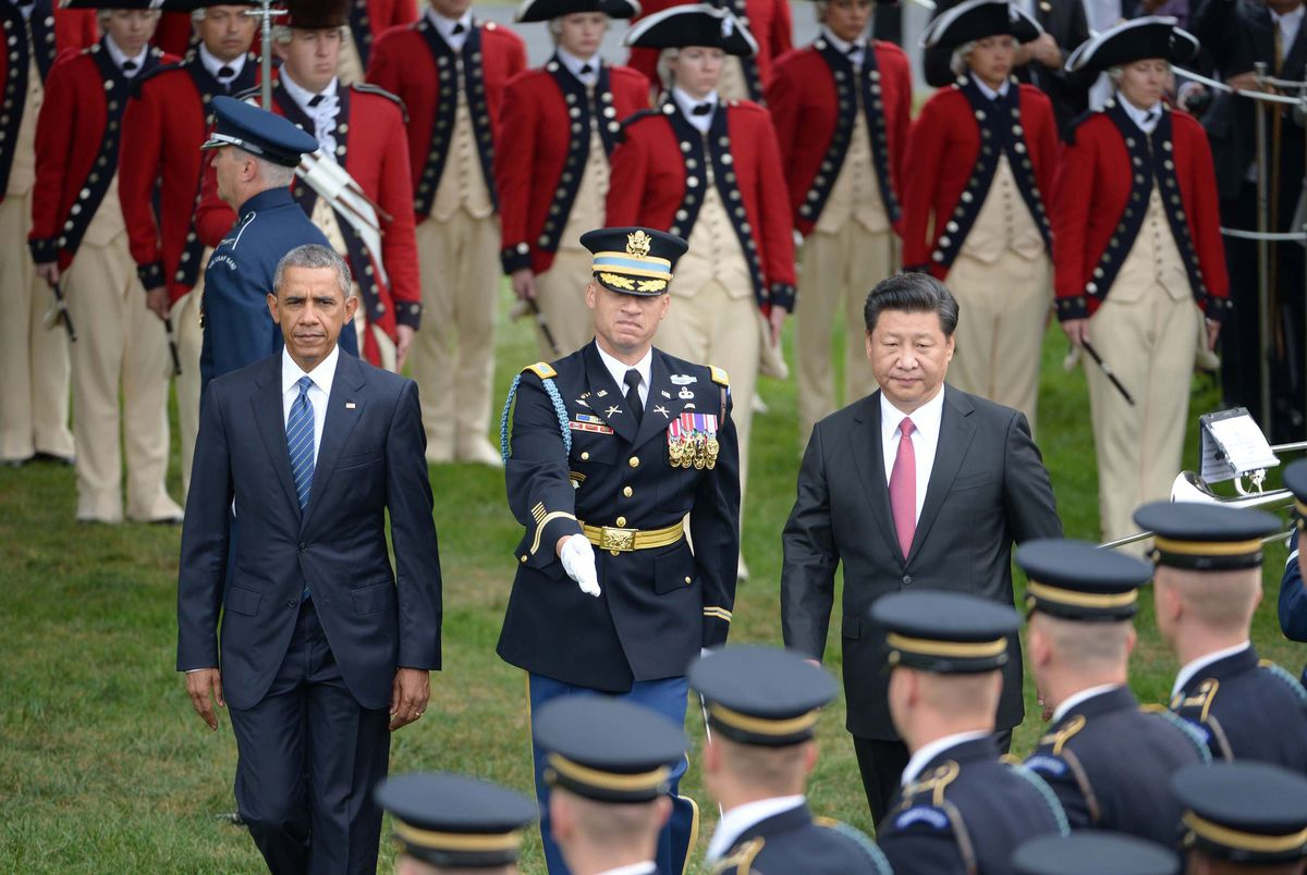 President Xi Jinping and President Obama during the Chinese president's state visit to the US on September 25, 2015.