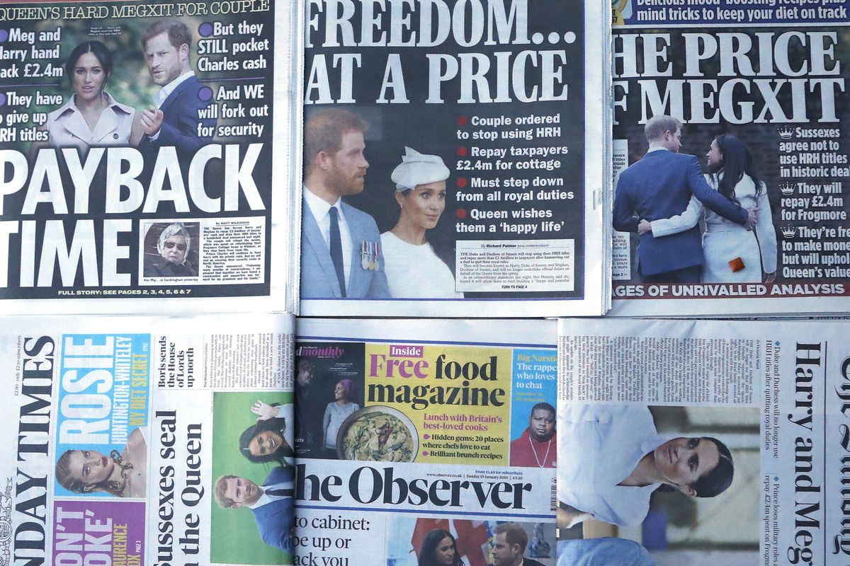 The front pages of London's Sunday newspapers are displayed in London, Sunday, Jan. 19, 2020.