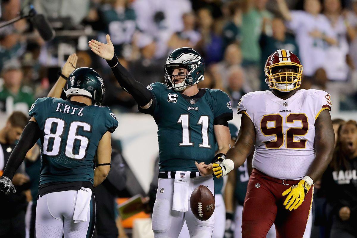 Philadelphia Eagles quarterback Carson Wentz celebrates a touchdown