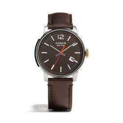 "<a href=""http://f.curbed.cc/f/Coach_SP_121113_watch"">Bleecker stainless steel three hand strap watch in dark brown</a>, $348"