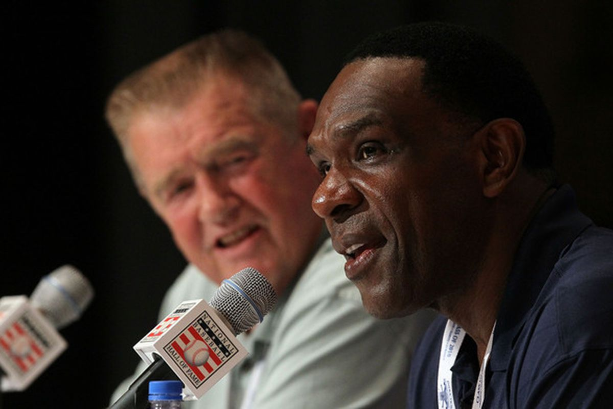 COOPERSTOWN NY - JULY 24:  2010 Baseball Hall of Fame inductees Andre Dawson (R) and Whitey Herzog speak to the media during induction weekend at Cooperstown Central School on July 24 2010 in Cooperstown New York.  (Photo by Jim McIsaac/Getty Images)