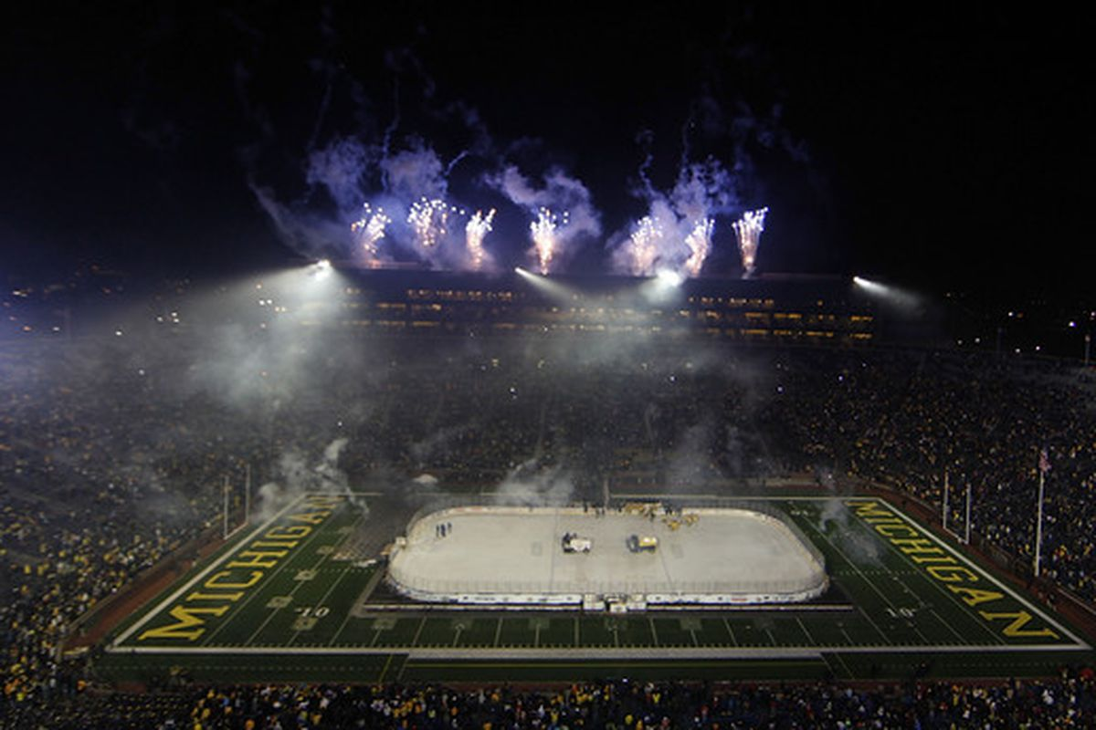 """Michigan State played archrival Michigan in this outdoor game, dubbed the """"Big Chill"""" at the Big House in Ann Arbor, Mich."""