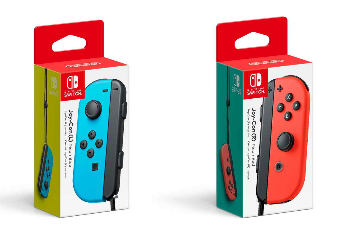 product shot of two individual nintendo switch joy-cons, blue and red, in their packaging