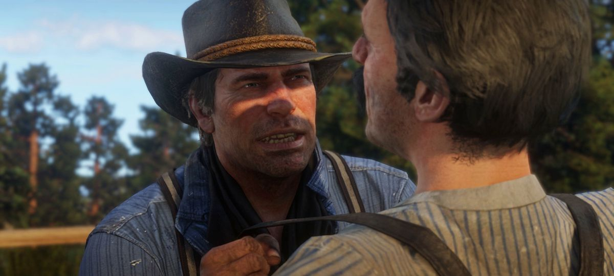 Red Dead Redemption 2 - Arthur shaking down a guy
