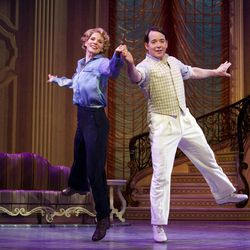 """In this publicity photo provided by Boneau/Bryan-Brown, Kelli O'Hara, left, and Matthew Broderick perform in the new musical comedy """"Nice Work If You Can Get It"""" at Broadway's Imperial Theatre in New York."""
