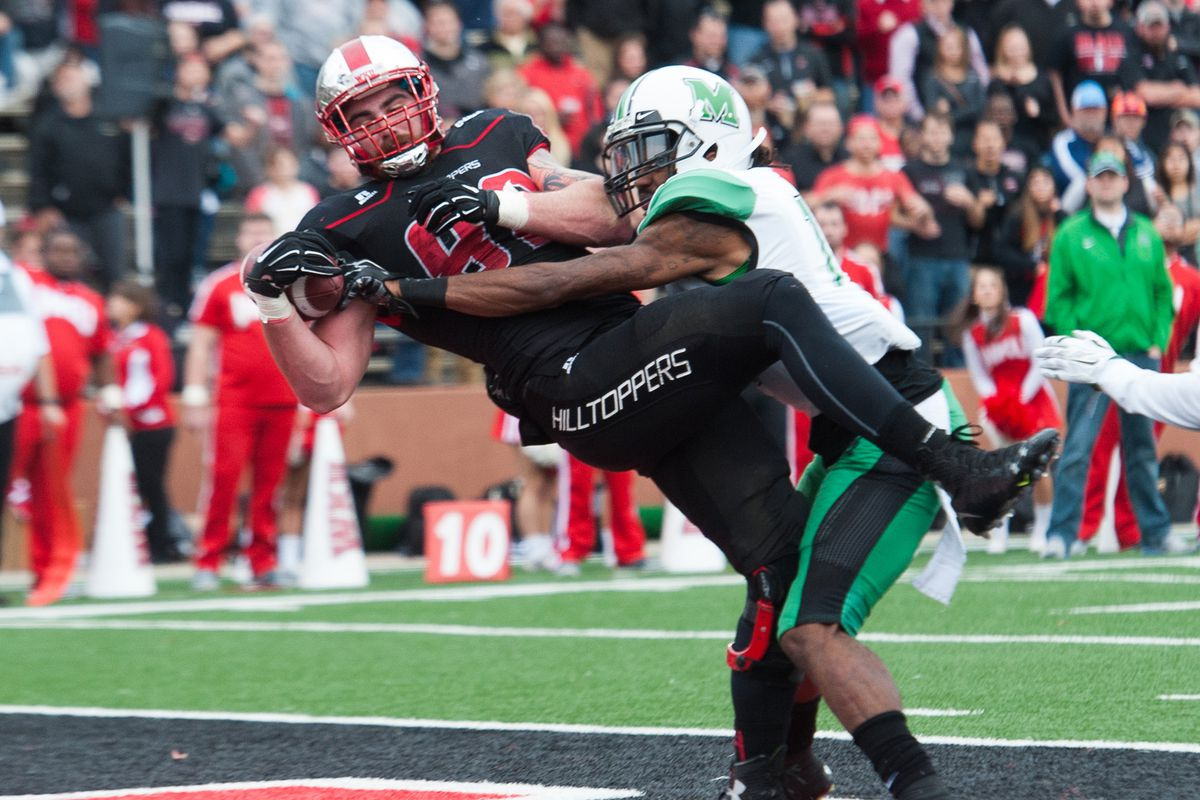 Tyler Higbee (82) hauls in one of his two touchdowns in WKU's win over Marshall