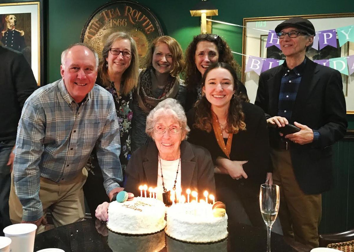 Allison Katzman with her family at her 95th birthday party.