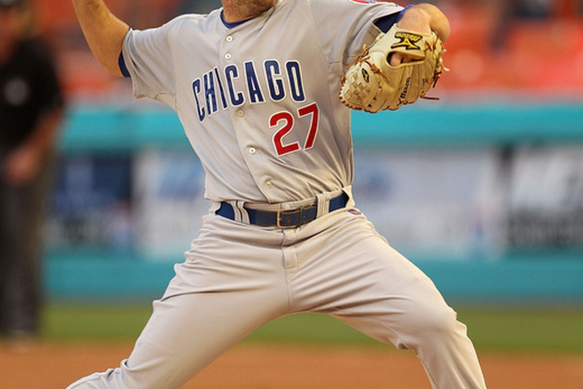 Casey Coleman of the Chicago Cubs pitches during a game against  the Florida Marlins at Sun Life Stadium in Miami Gardens, Florida.  (Photo by Mike Ehrmann/Getty Images)