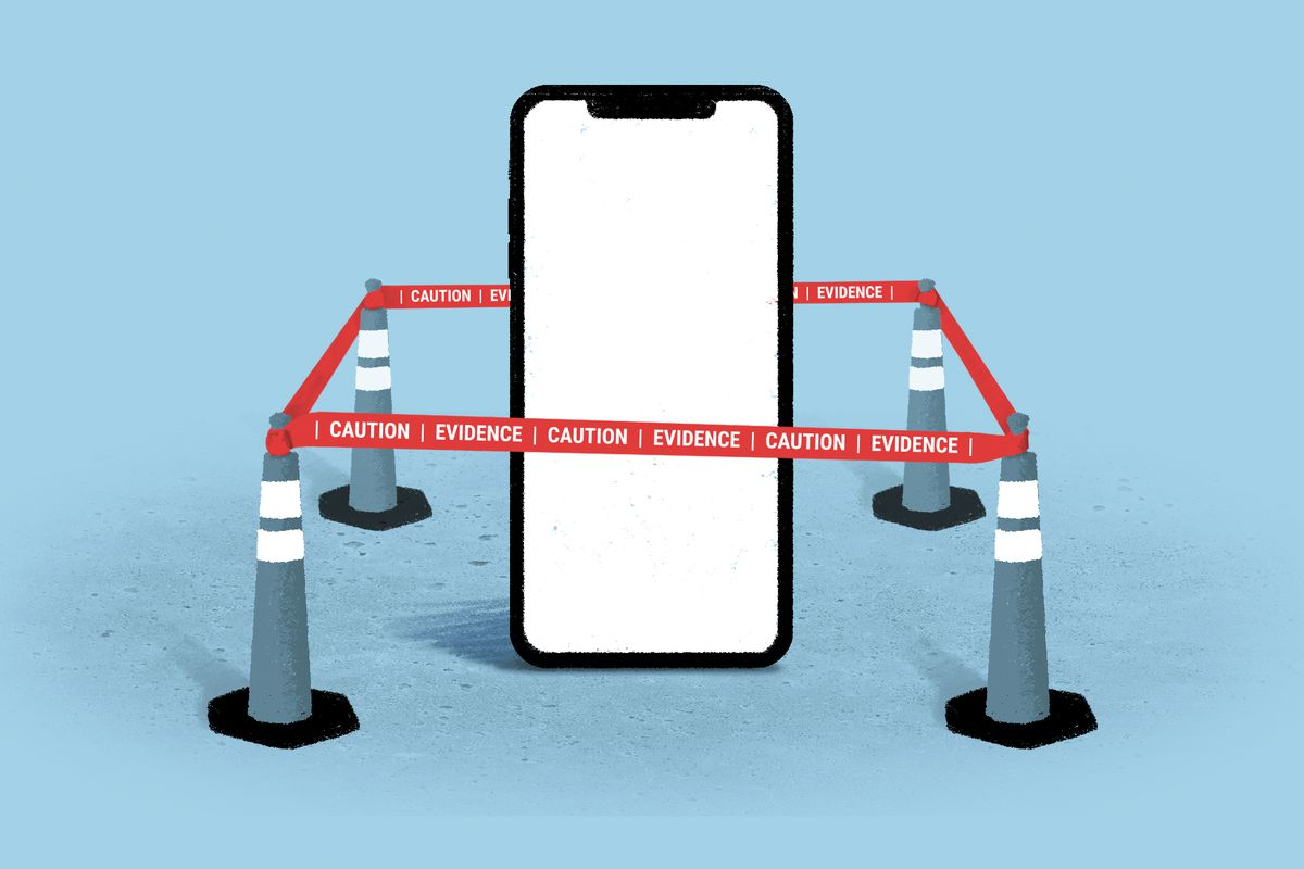 "An illustration of a giant phone surrounded by red tape that says ""Caution, evidence."""