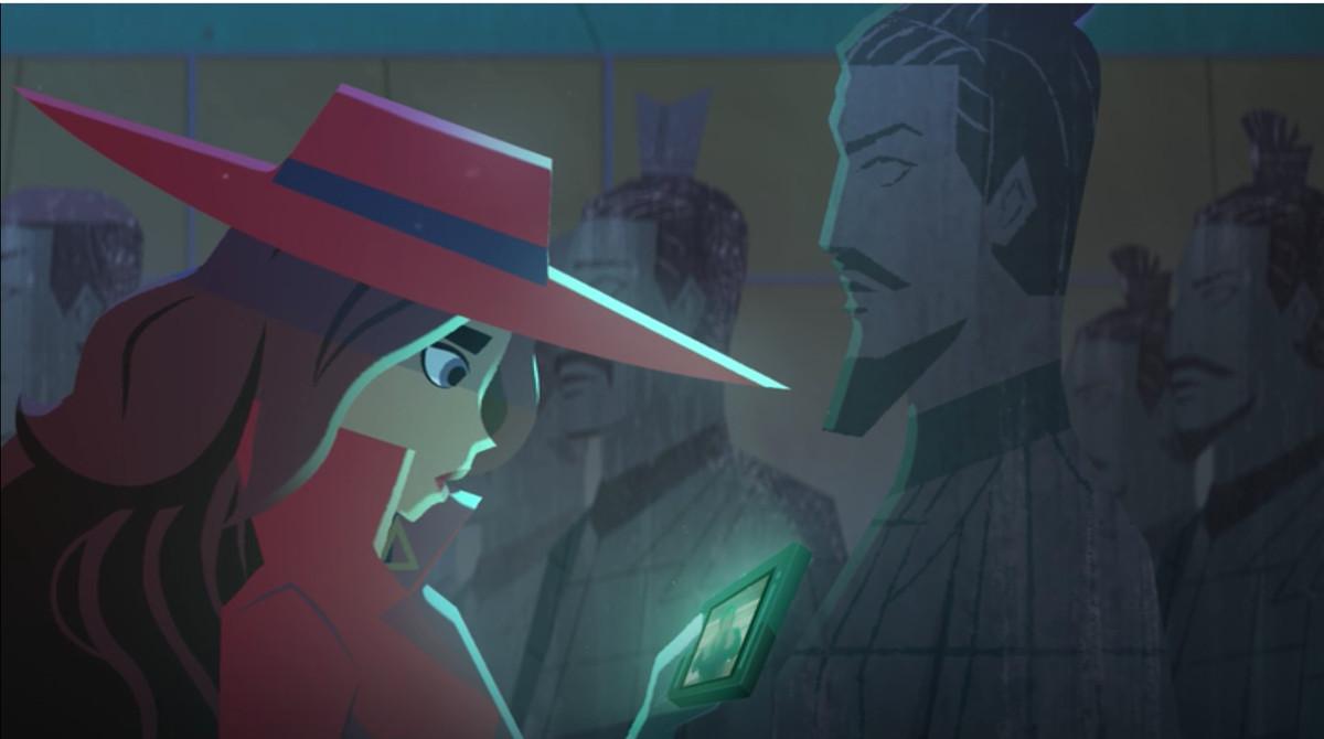 carmen sandiego investigating a terra cotta warrior