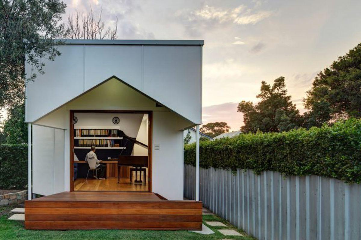 tiny house music studio in backyard