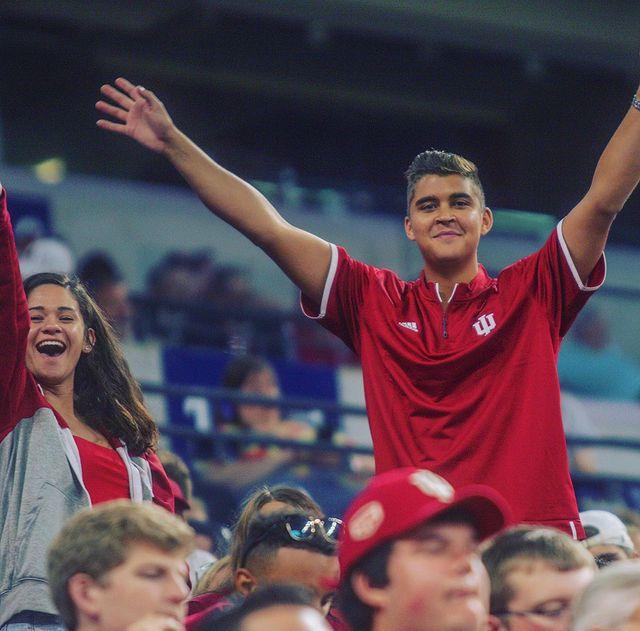 Alec Pena cheering