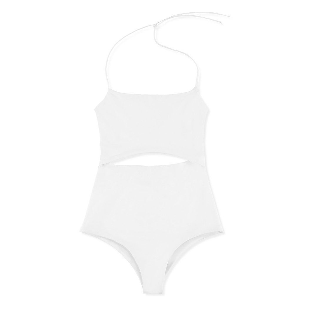 A white cut-out one-piece