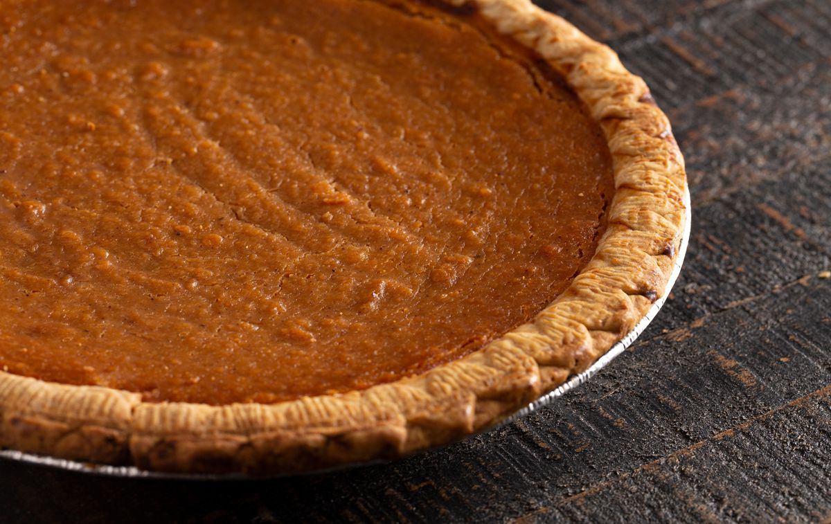 Close-up of a sweet potato pie in its baking tin.