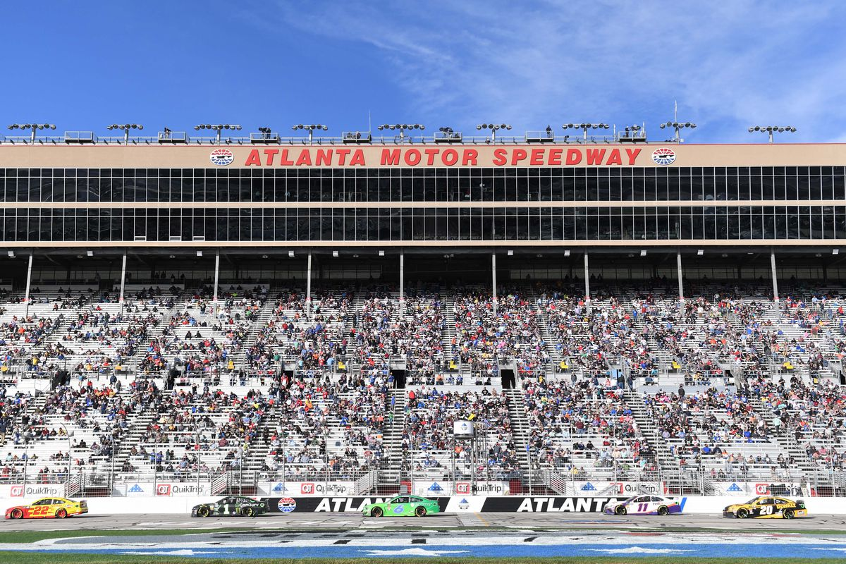 A general view of the stands after the second stage during the Folds of Honor QuickTrip 500 at Atlanta Motor Speedway.