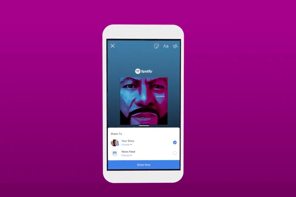 Facebook Stories gets Instagram Stories' Spotify music