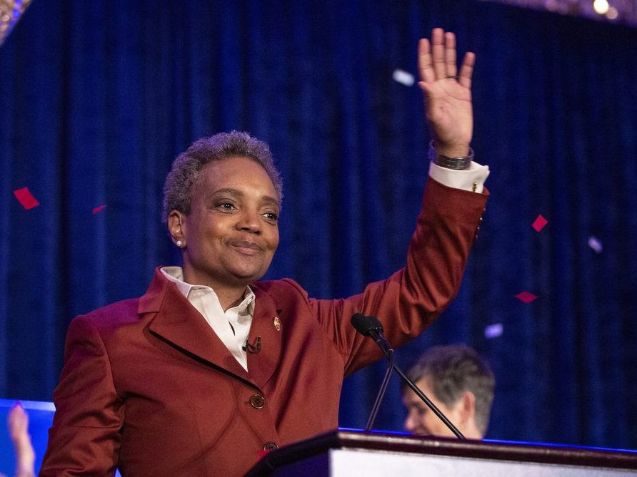 Lori Lightfoot celebrates at her election night rally at the Hilton Chicago after defeating Toni Preckwinkle in the Chicago mayoral election, Tuesday, April 2, 2019. | Ashlee Rezin/Sun-Times