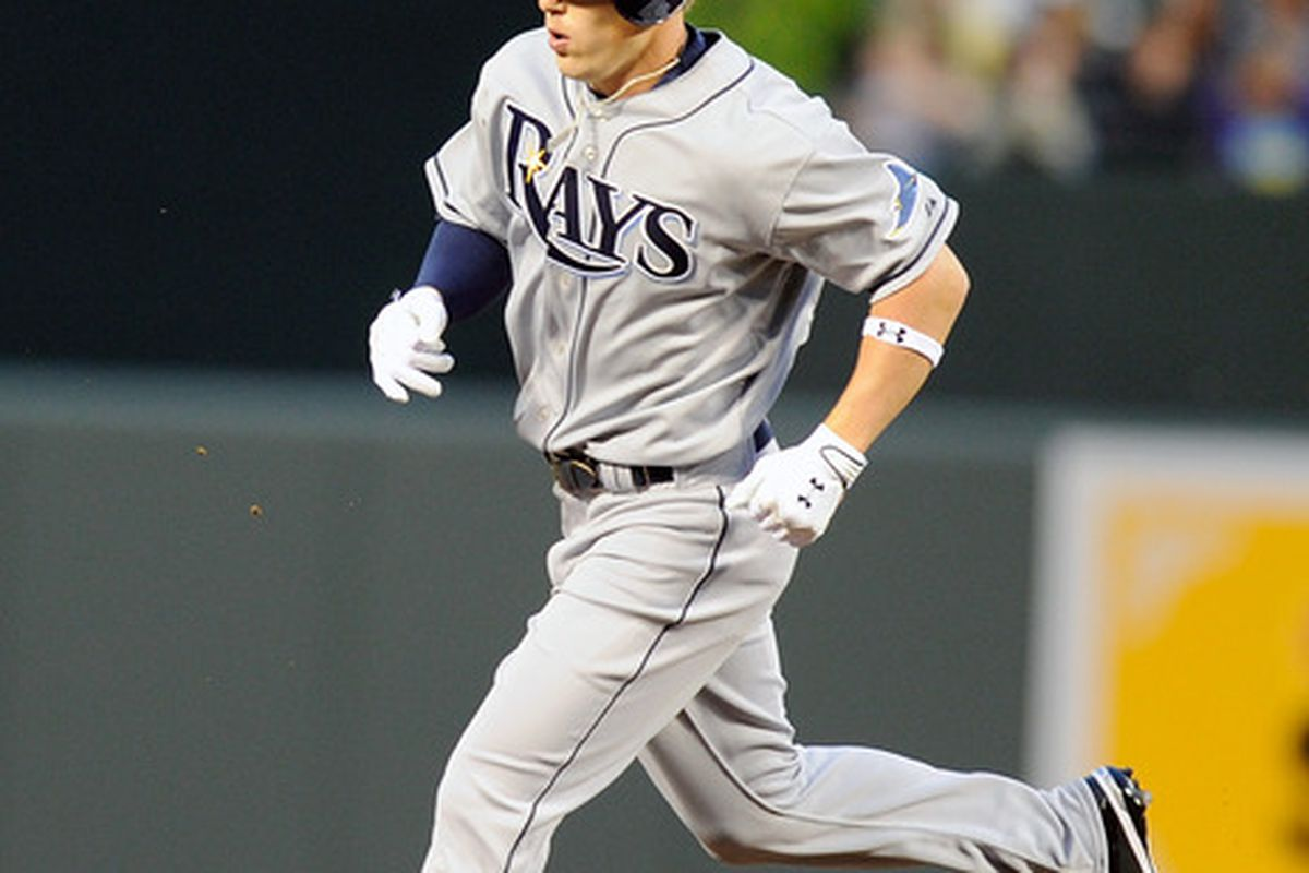 Brandon Guyer of the Tampa Bay Rays rounds the bases after hitting a home run in his major league debut against the Baltimore Orioles on May 6, 2011.  (Photo by Greg Fiume/Getty Images)