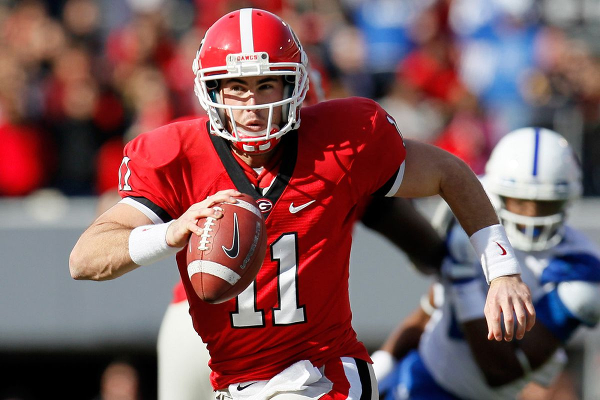 ATHENS, GA - NOVEMBER 19:  Aaron Murray #11 of the Georgia Bulldogs rushes for a first down against the Kentucky Wildcats at Sanford Stadium on November 19, 2011 in Athens, Georgia.  (Photo by Kevin C. Cox/Getty Images)