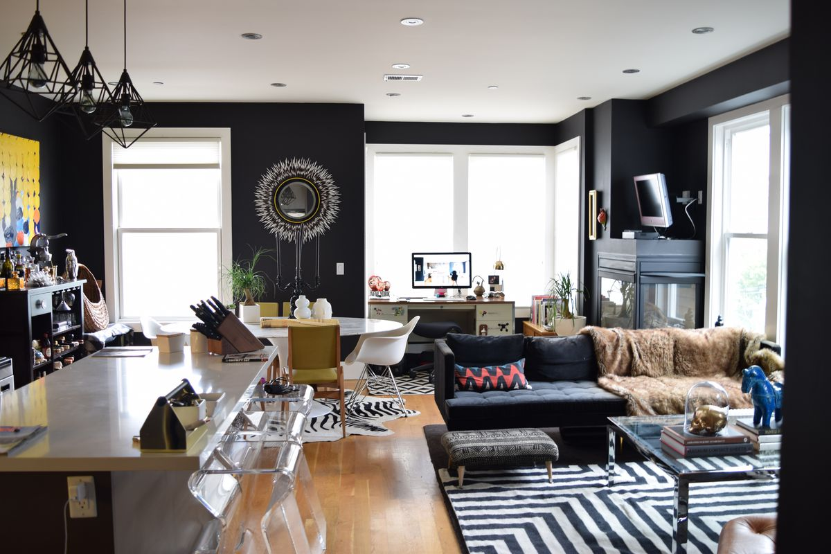 Best black paints for your home curbed - Black brown and white living room ...