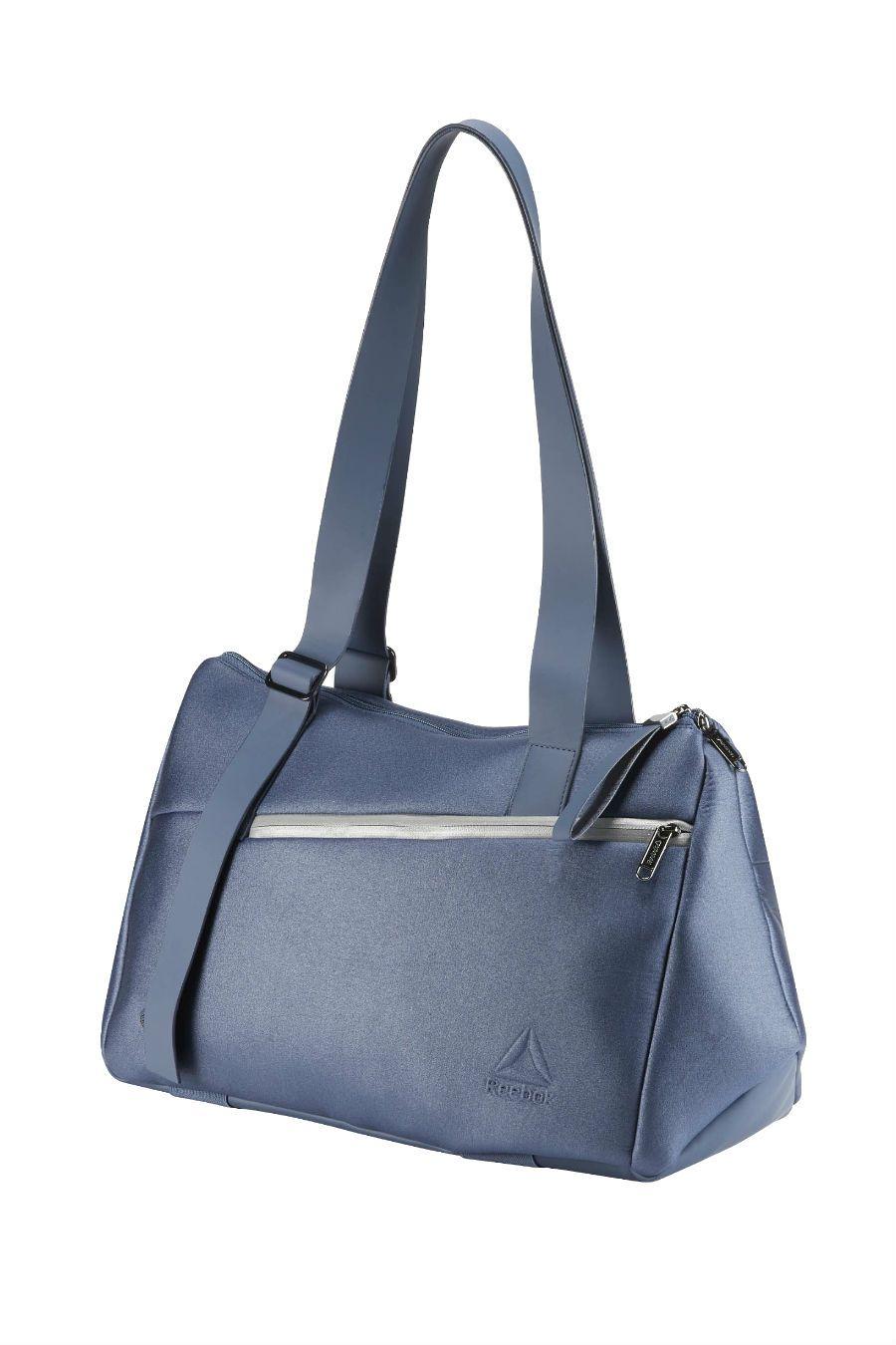 A blue Reebok gym bag