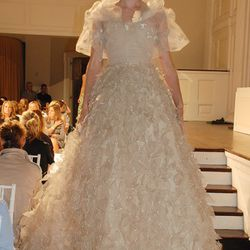 Peony silk organza and gold leaf embroidered ruffle gown on Lindsey.