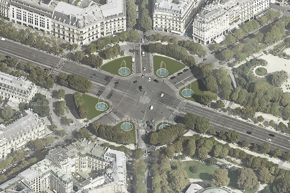 Aerial image of fountains on roundabout