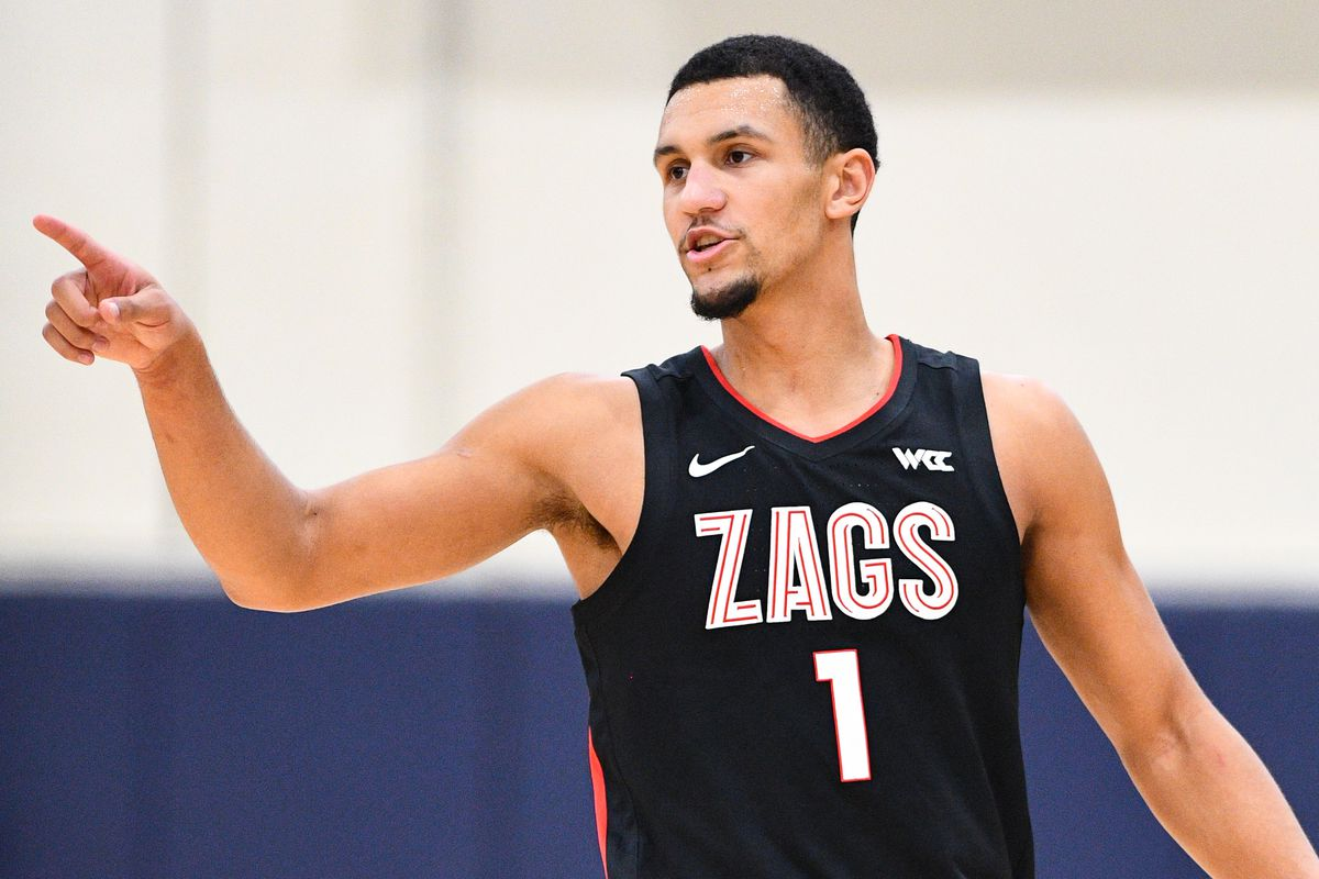 Gonzaga guard Jalen Suggs looks on during the college basketball game between the Gonzaga Bulldogs and the Pepperdine Waves on January 30, 2021 at the Firestone Fieldhouse in Malibu, CA. The game was played without fans due to the COVID-19 pandemic.