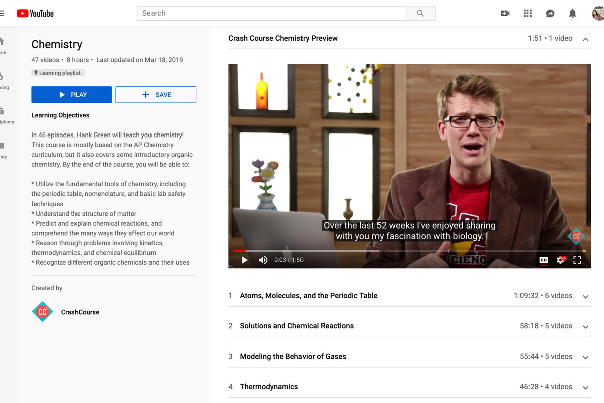 Youtube Is Launching Educational Playlists That Won T Show Recommended Videos The Verge
