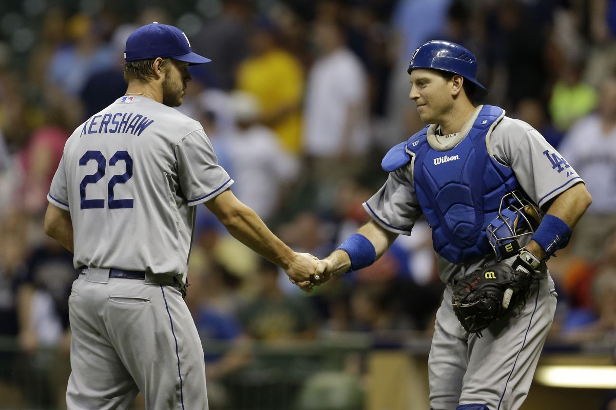Clayton Kershaw got to shake hands with his catcher for the 10th time on Monday night.