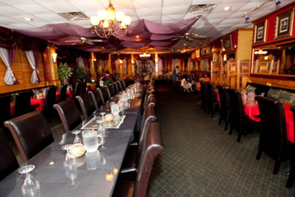 The dining room at Cafe Bombay.