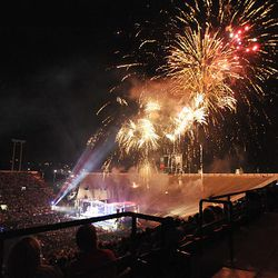 Fireworks display illuminates the sky over LaVell Edwards Stadium in Provo during Stadium of Fire on Saturday.