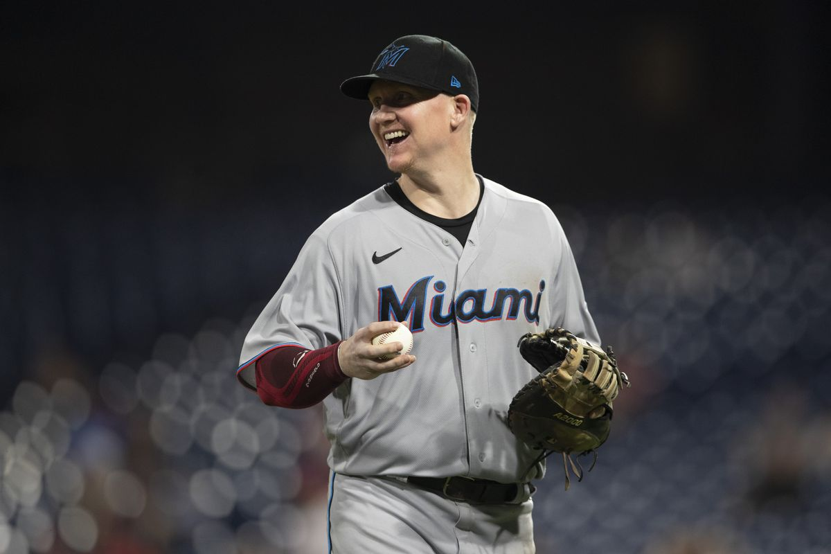 Garrett Cooper #26 of the Miami Marlins reacts against the Philadelphia Phillies at Citizens Bank Park