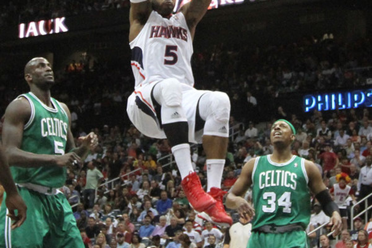 May 1, 2012; Atlanta, GA, USA; Atlanta Hawks forward Josh Smith (5) dunks the ball during the first half of game two in the Eastern Conference quarterfinals of the 2012 NBA Playoffs at Philips Arena.  Mandatory Credit: Joshua S. Kelly-US PRESSWIRE