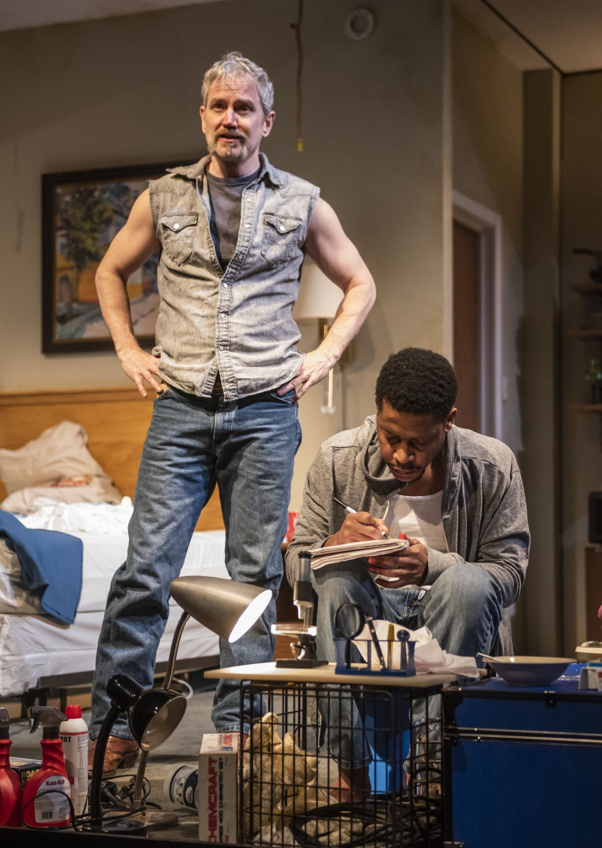 """Steve Key (left) and Namir Smallwood star in Steppenwolf Theatre's production of """"Bug"""" by ensemble member Tracy Letts."""