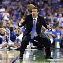 Kentucky head coach John Calipari reacts during the second half of the NCAA Final Four tournament college basketball championship game against Kansas, Monday, April 2, 2012, in New Orleans.